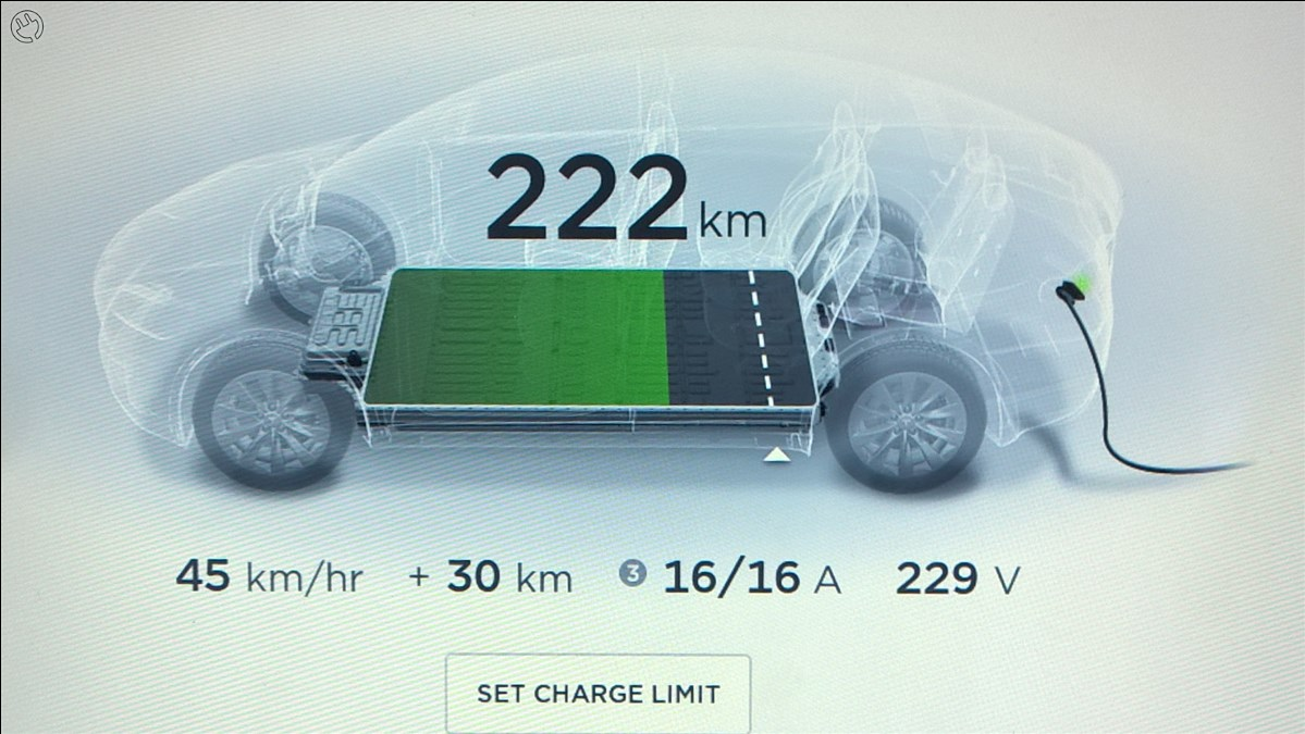 Den gav lite under lunchen. Tesla Model X 75D